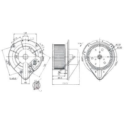 Вентилятор салона Audi / Volkswagen (FPS) FP 12 W0193 +AC - FP 12 W0193