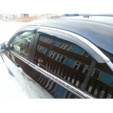 Дефлекторы окон (ветровики) Hyundai Accent 2010-> 4дв  Хром молдинг