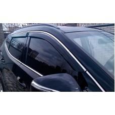 Дефлекторы окон (ветровики) Hyundai Santa Fe 2012 -> C Хром Молдингом