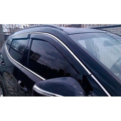 Дефлекторы окон (ветровики) Hyundai Santa Fe 2012 -> C Хром Молдингом - HY38-M