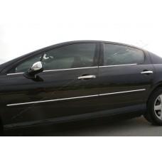 Peugeot 407 Sedan/SW (2004-2010) Молдинги стекол нижние 4шт