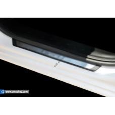 Skoda Rapid (2012-) Накладки на пороги Flexill с лого Rapid 4шт