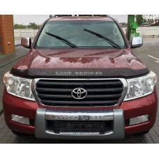 Дефлектор капота (мухобойка) TOYOTA LAND CRUISER 200 2007-темный (Logo)