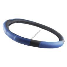 Чехол на руль L 39-41 Ø экокожа, черный с синими вставками и перфорацией на основе белой резины